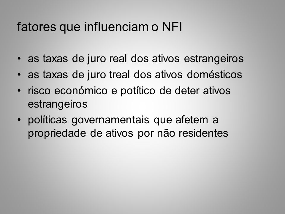 fatores que influenciam o NFI