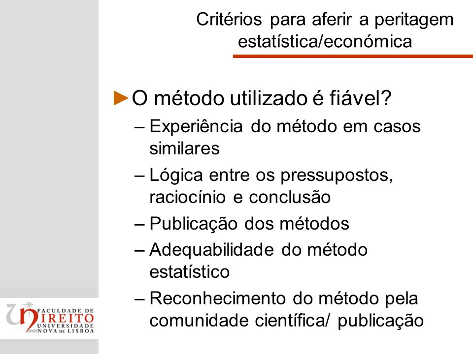 Critérios para aferir a peritagem estatística/económica