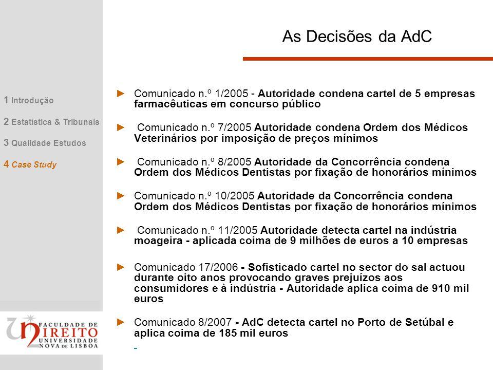 As Decisões da AdC Comunicado n.º 1/2005 - Autoridade condena cartel de 5 empresas farmacêuticas em concurso público.