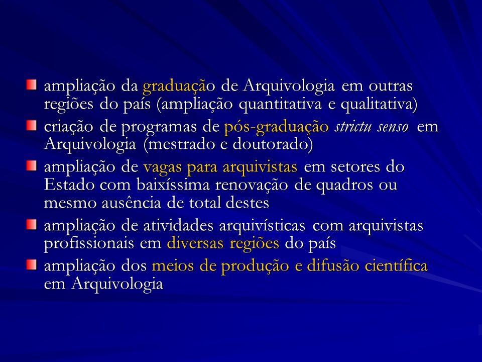 ampliação da graduação de Arquivologia em outras regiões do país (ampliação quantitativa e qualitativa)