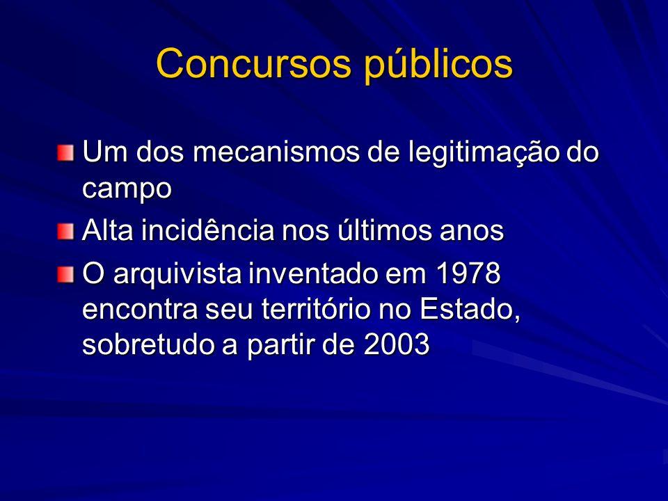 Concursos públicos Um dos mecanismos de legitimação do campo