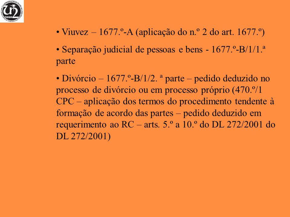 Viuvez – 1677.º-A (aplicação do n.º 2 do art. 1677.º)