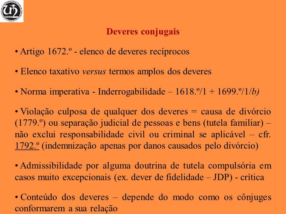 Deveres conjugais Artigo 1672.º - elenco de deveres recíprocos. Elenco taxativo versus termos amplos dos deveres.