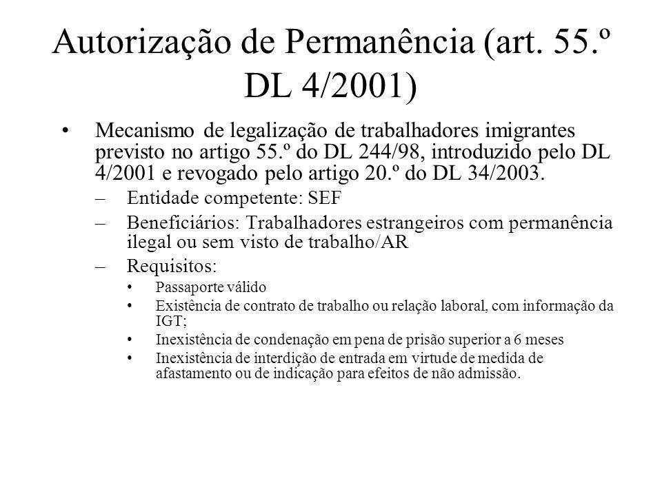 Autorização de Permanência (art. 55.º DL 4/2001)