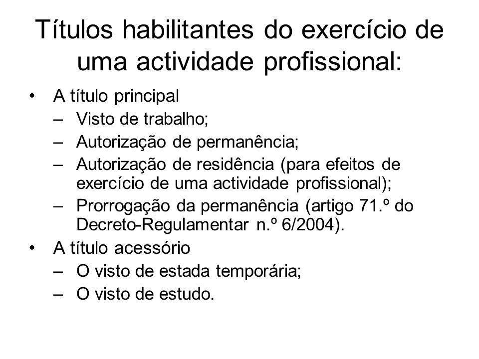 Títulos habilitantes do exercício de uma actividade profissional: