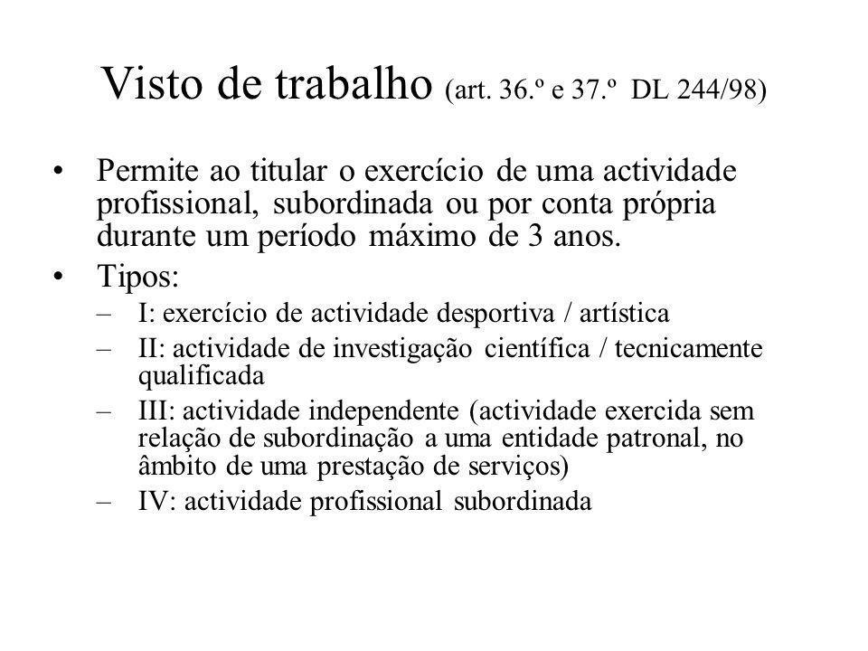 Visto de trabalho (art. 36.º e 37.º DL 244/98)