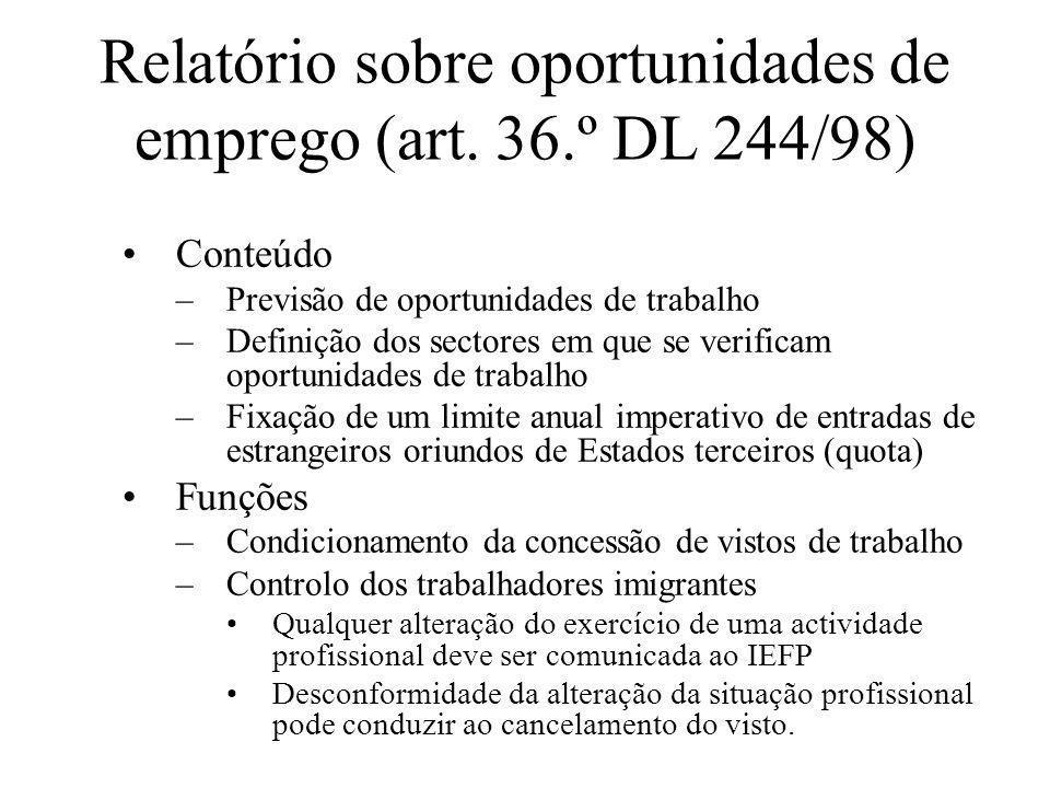 Relatório sobre oportunidades de emprego (art. 36.º DL 244/98)