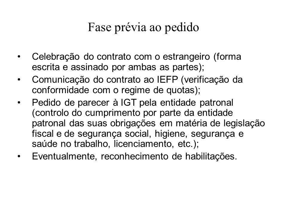 Fase prévia ao pedido Celebração do contrato com o estrangeiro (forma escrita e assinado por ambas as partes);