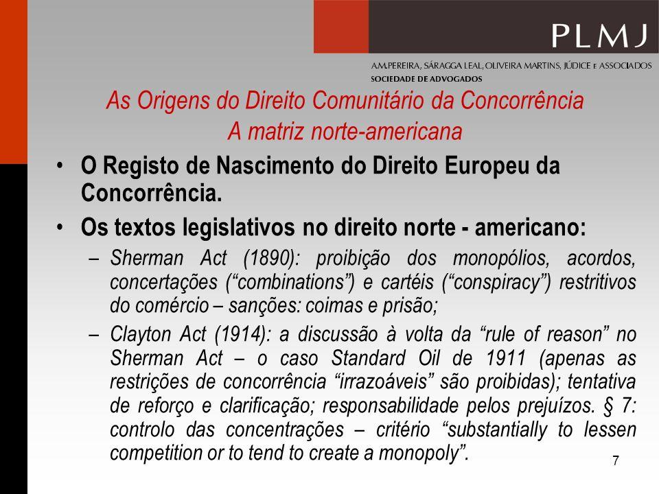 O Registo de Nascimento do Direito Europeu da Concorrência.