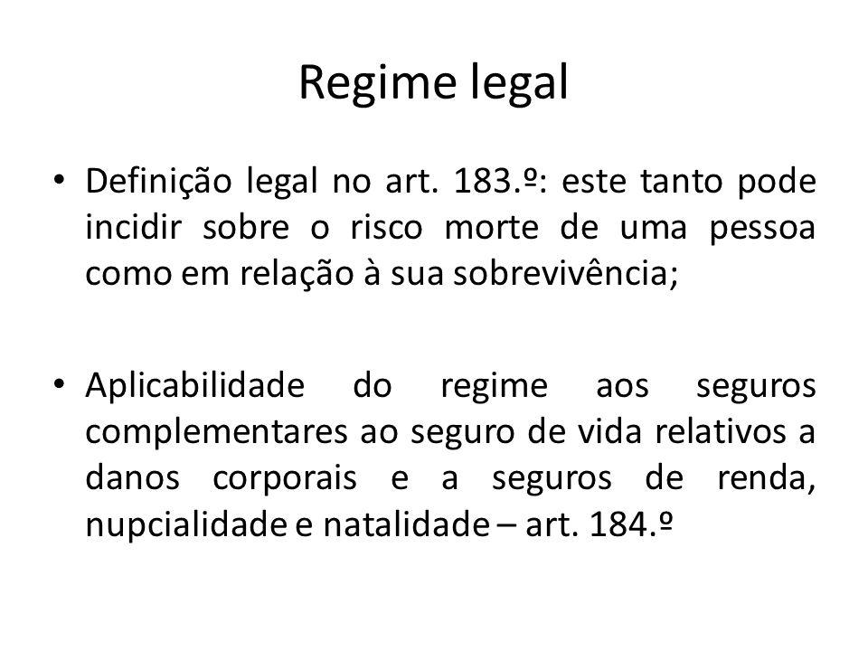 Regime legal Definição legal no art. 183.º: este tanto pode incidir sobre o risco morte de uma pessoa como em relação à sua sobrevivência;