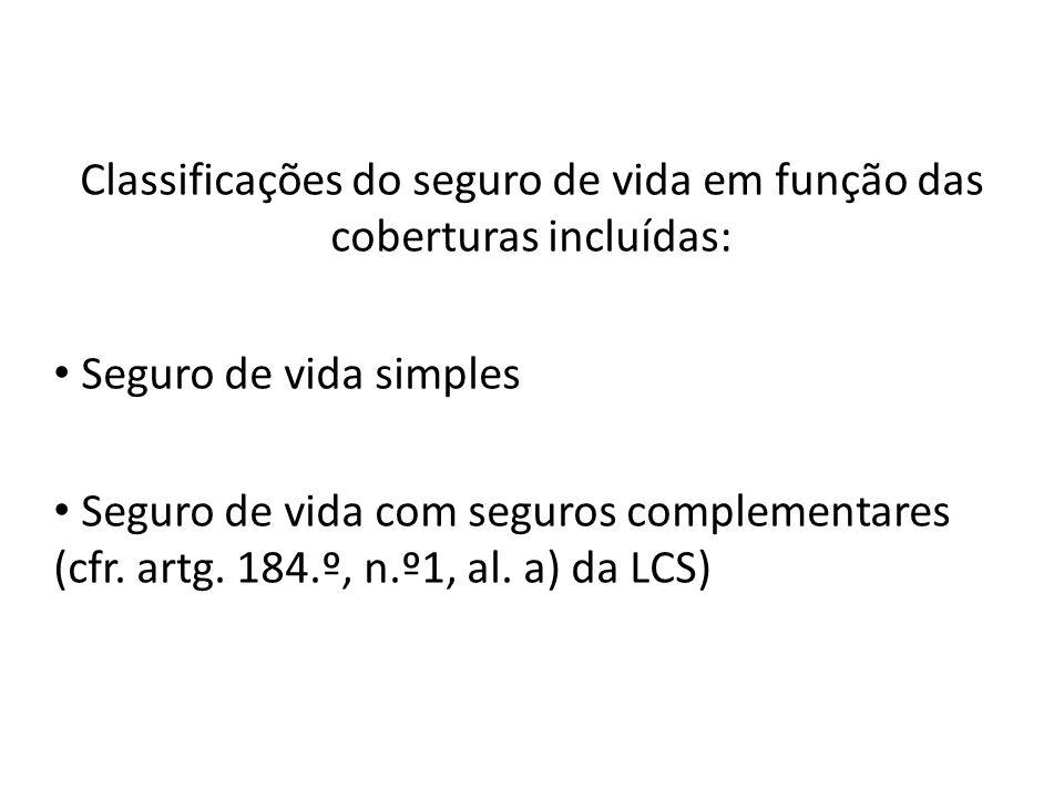 Classificações do seguro de vida em função das coberturas incluídas: