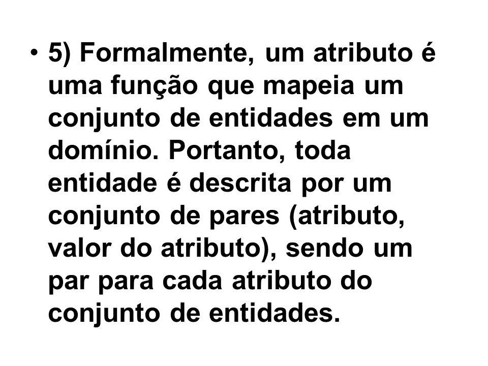 5) Formalmente, um atributo é uma função que mapeia um conjunto de entidades em um domínio.