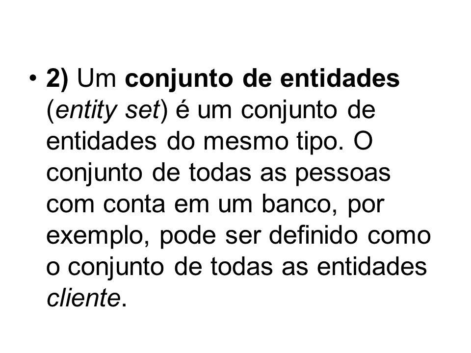 2) Um conjunto de entidades (entity set) é um conjunto de entidades do mesmo tipo.
