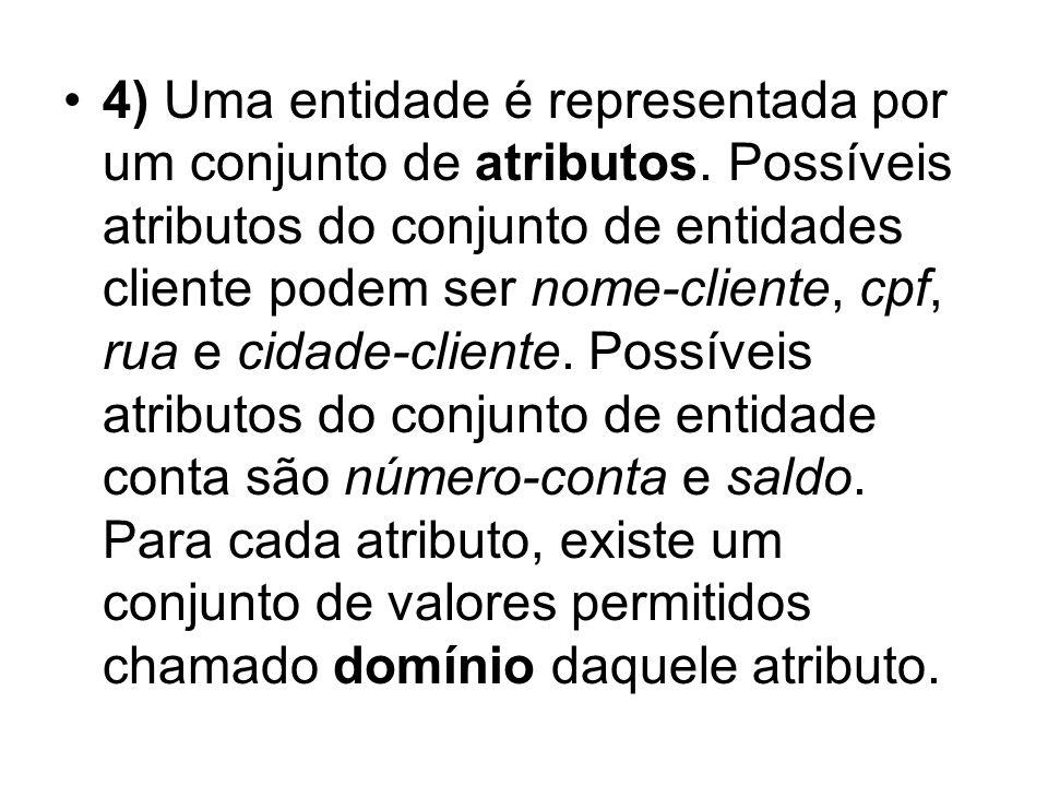 4) Uma entidade é representada por um conjunto de atributos