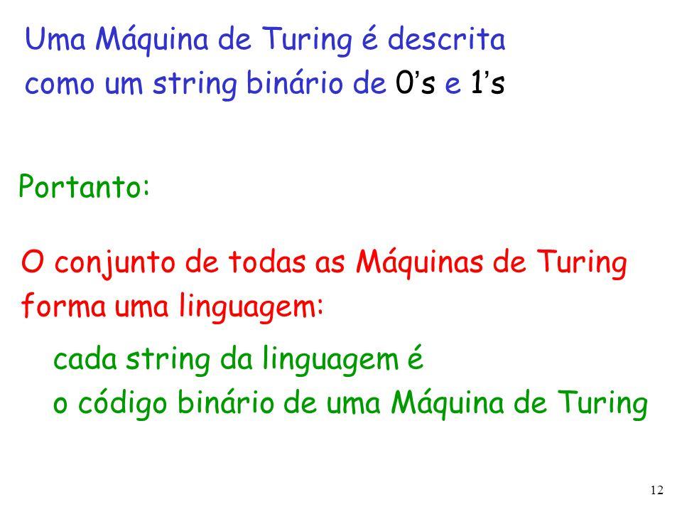 Uma Máquina de Turing é descrita