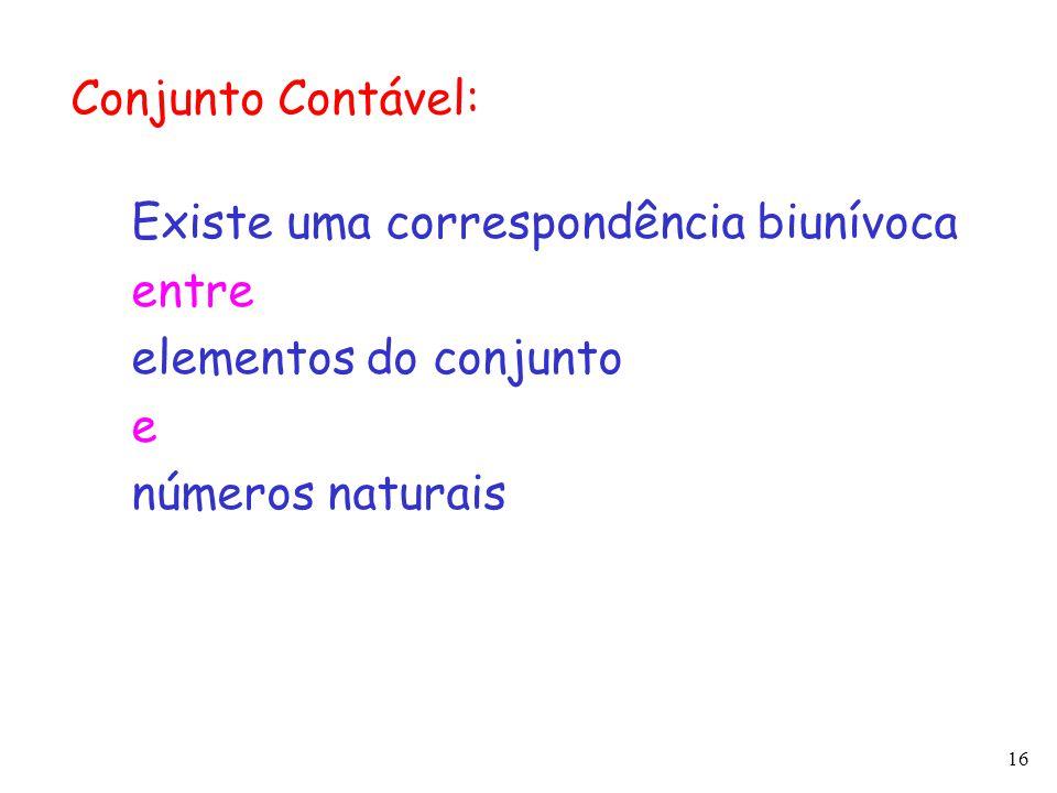 Conjunto Contável: Existe uma correspondência biunívoca.