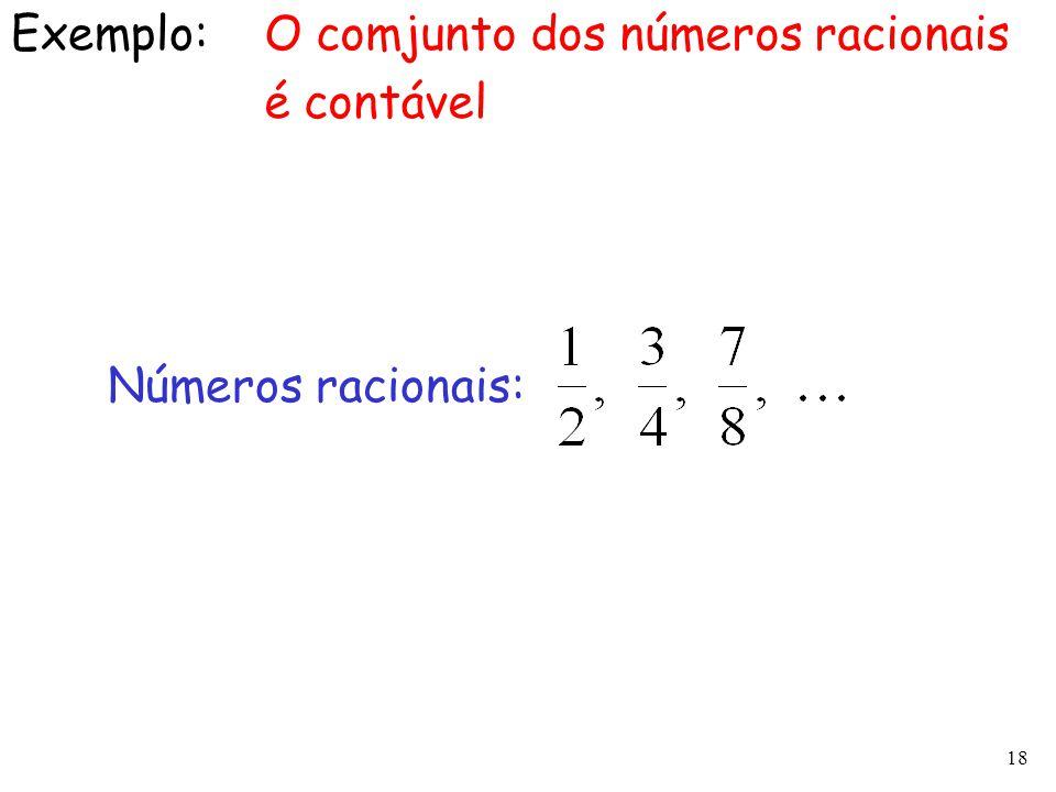 Exemplo: O comjunto dos números racionais é contável Números racionais:
