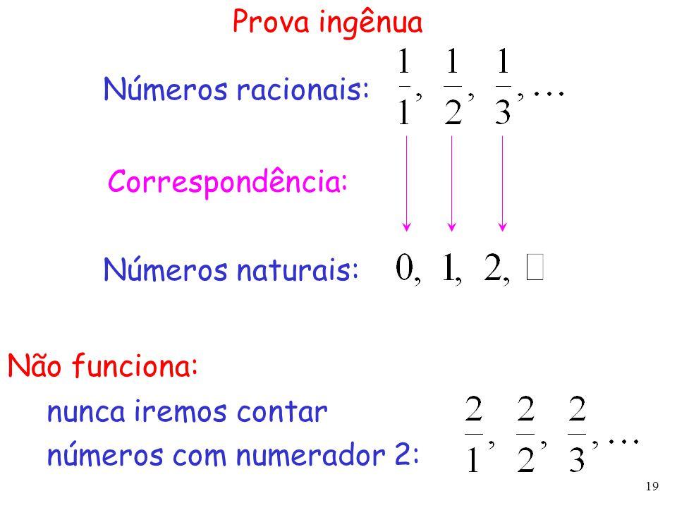 Prova ingênua Números racionais: Correspondência: Números naturais: Não funciona: nunca iremos contar.