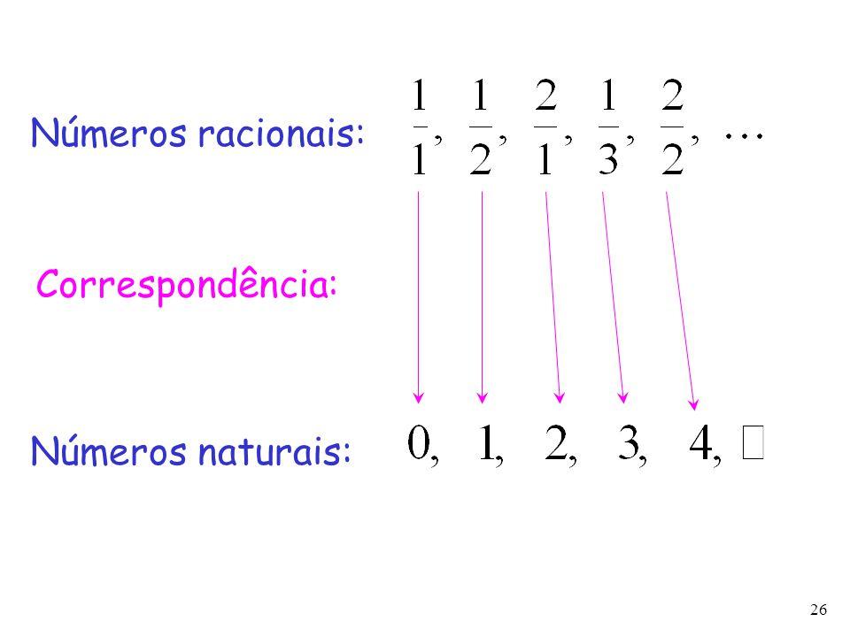 Números racionais: Correspondência: Números naturais: