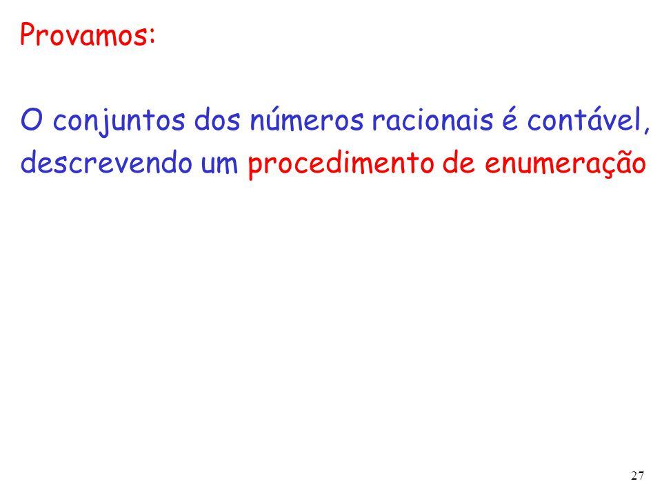 Provamos: O conjuntos dos números racionais é contável, descrevendo um procedimento de enumeração