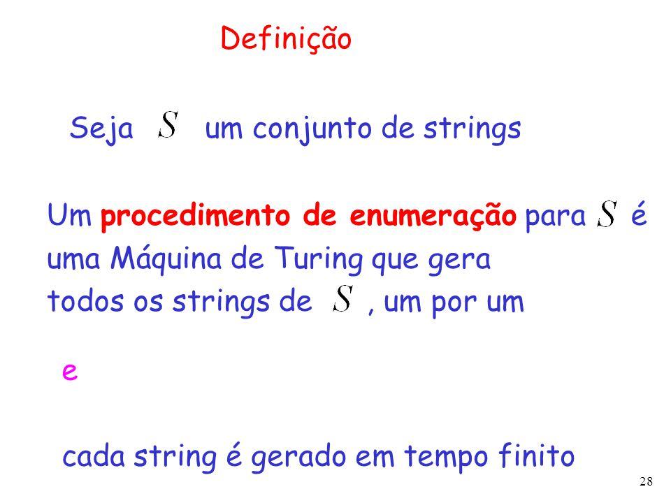 Definição Seja um conjunto de strings. Um procedimento de enumeração para é. uma Máquina de Turing que gera.