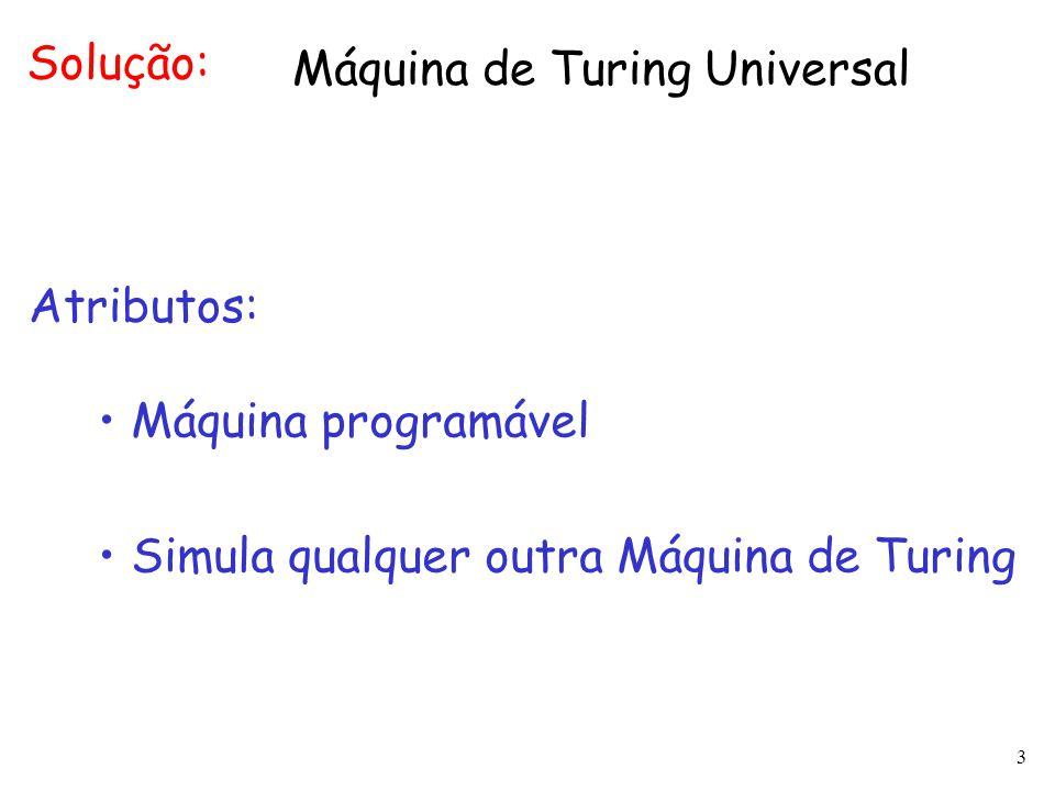 Solução: Máquina de Turing Universal. Atributos: Máquina programável.