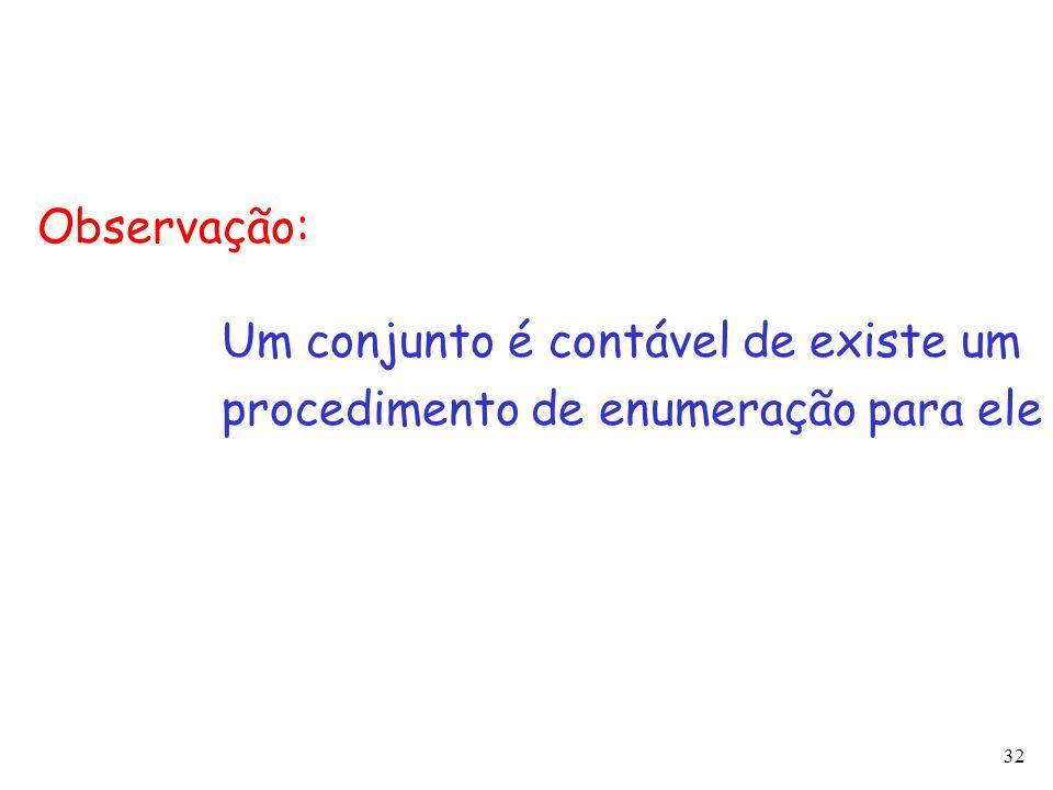 Observação: Um conjunto é contável de existe um procedimento de enumeração para ele