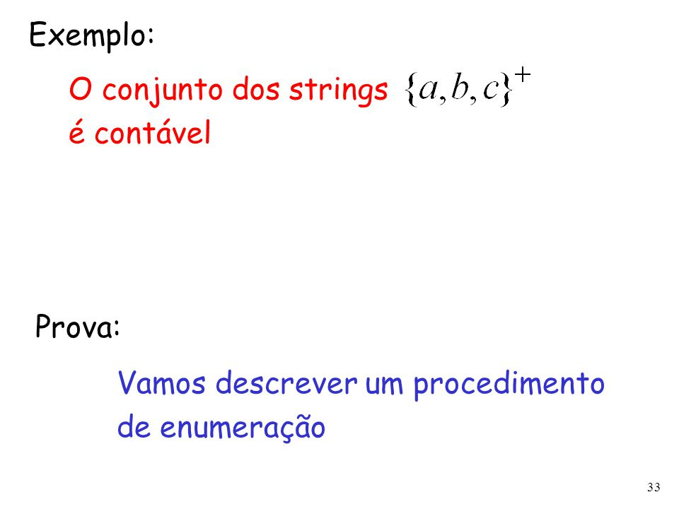 Exemplo: O conjunto dos strings é contável Prova: Vamos descrever um procedimento de enumeração