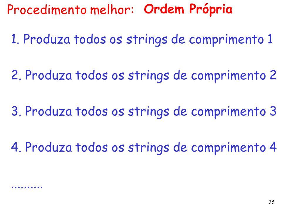 Procedimento melhor: Ordem Própria. 1. Produza todos os strings de comprimento 1. 2. Produza todos os strings de comprimento 2.