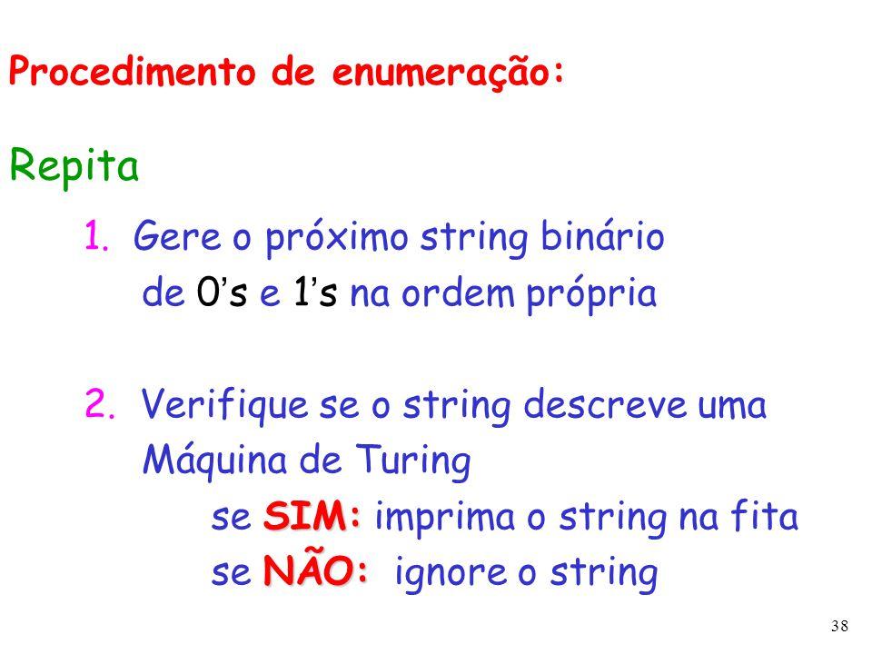 Repita Procedimento de enumeração: 1. Gere o próximo string binário