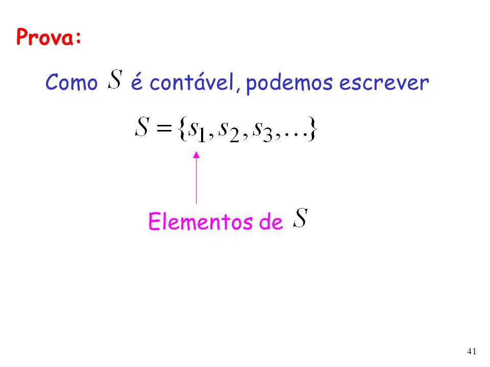 Prova: Como é contável, podemos escrever Elementos de