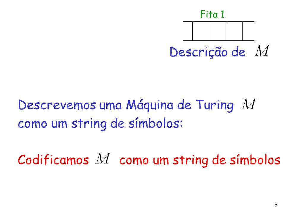 Descrevemos uma Máquina de Turing como um string de símbolos: