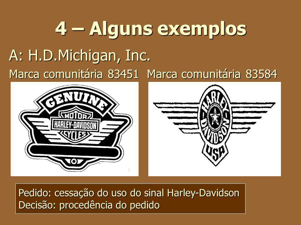 4 – Alguns exemplos A: H.D.Michigan, Inc.