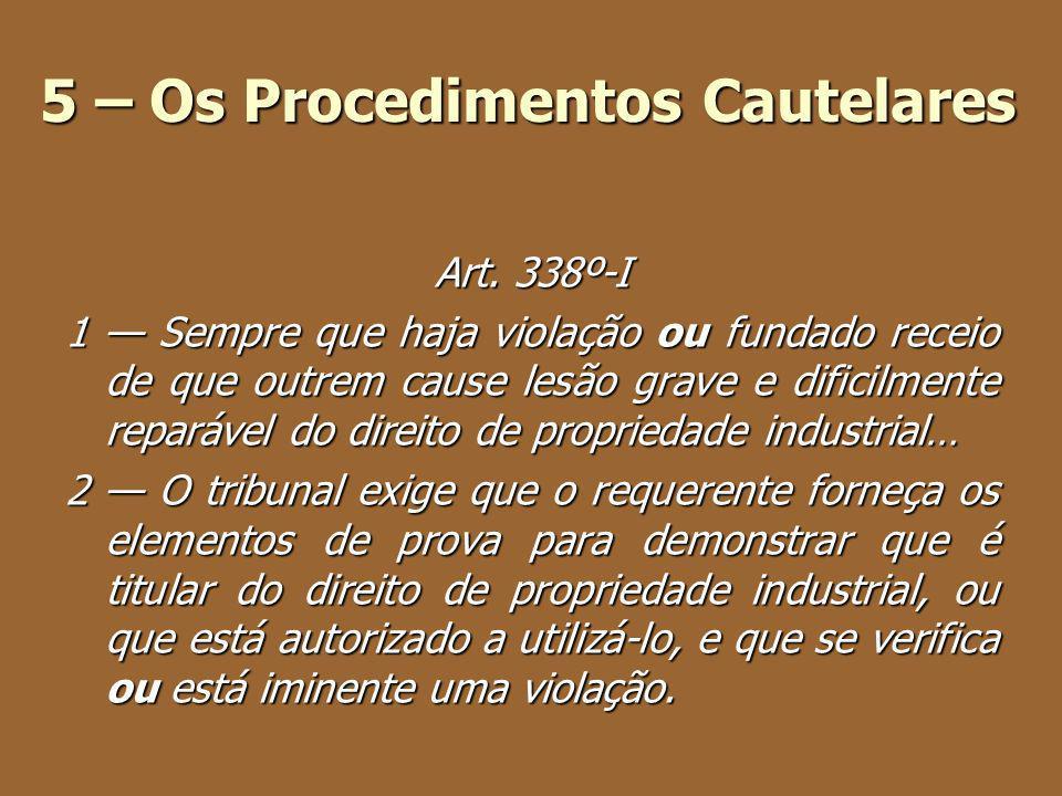 5 – Os Procedimentos Cautelares