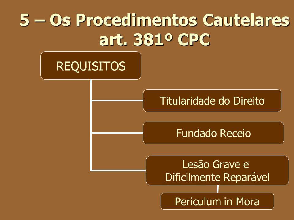 5 – Os Procedimentos Cautelares art. 381º CPC