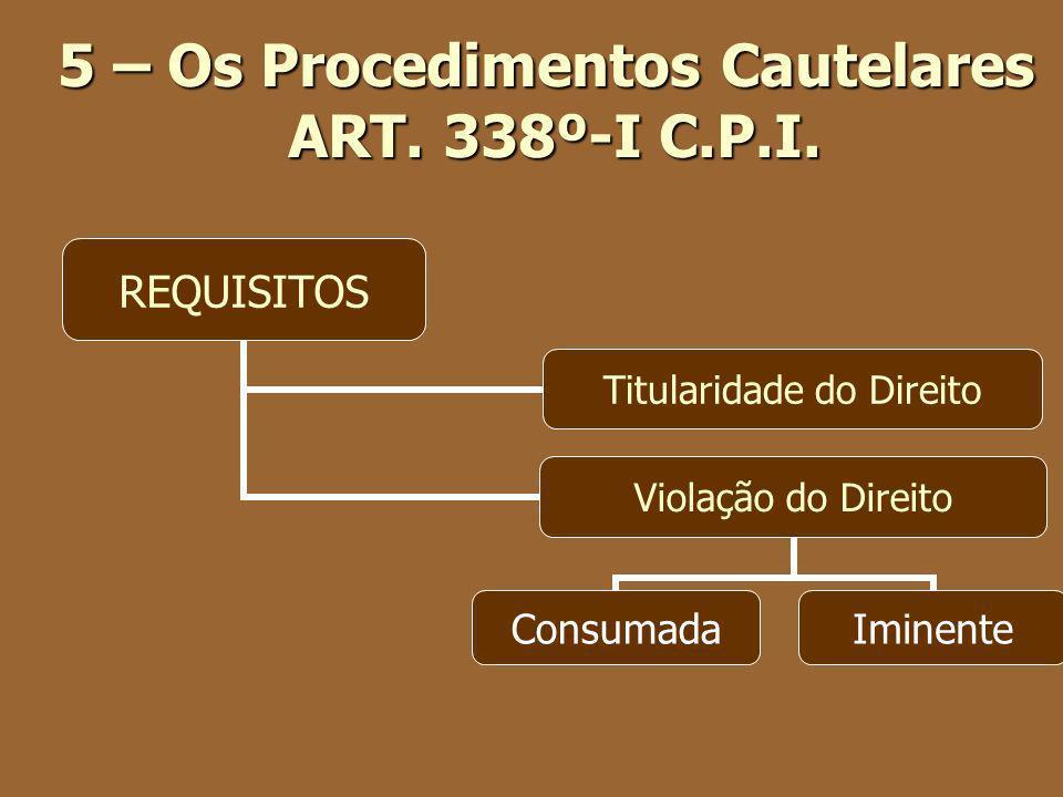 5 – Os Procedimentos Cautelares ART. 338º-I C.P.I.
