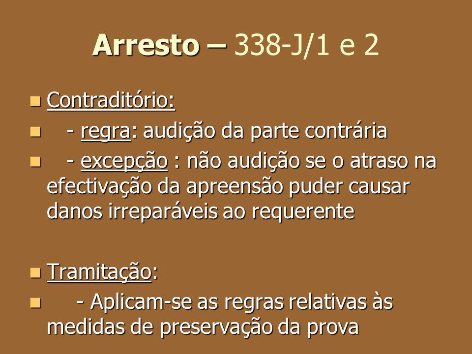 Arresto – 338-J/1 e 2 Contraditório: