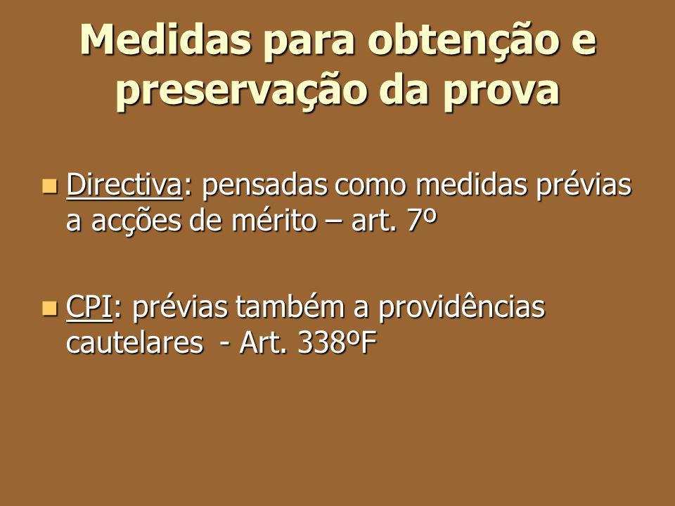 Medidas para obtenção e preservação da prova