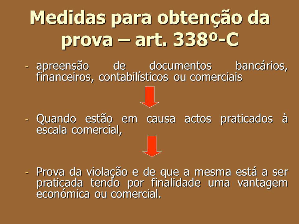 Medidas para obtenção da prova – art. 338º-C