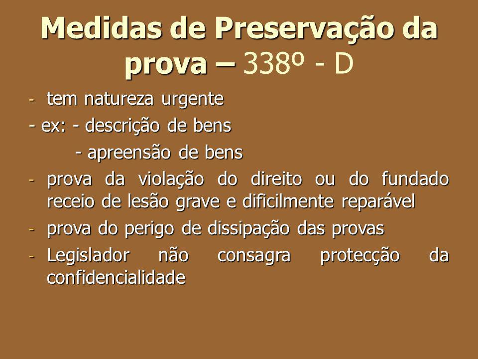 Medidas de Preservação da prova – 338º - D