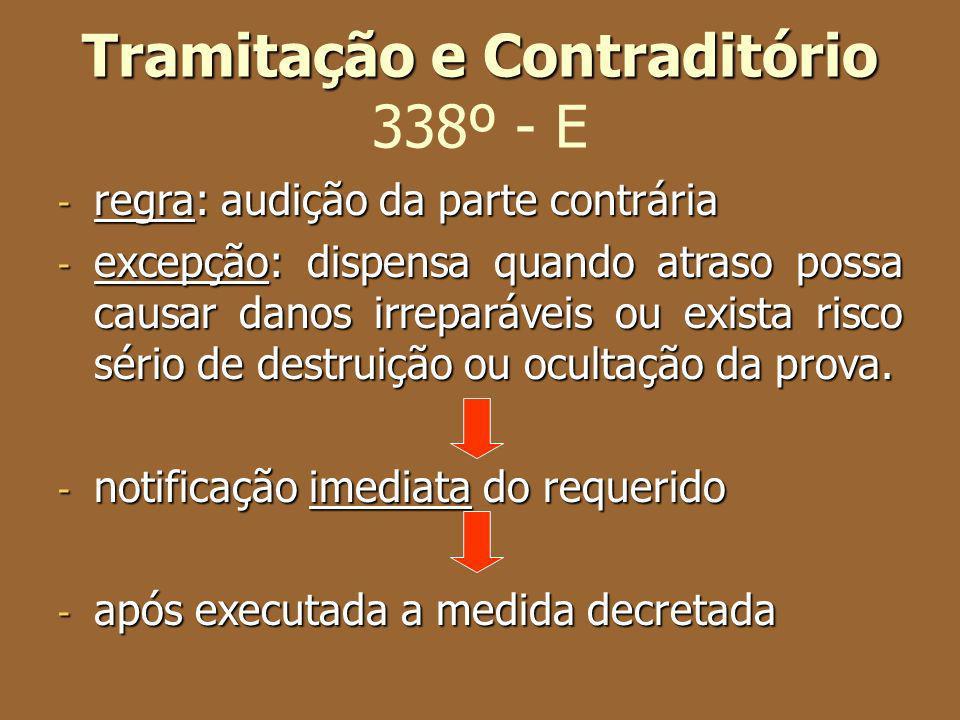 Tramitação e Contraditório 338º - E
