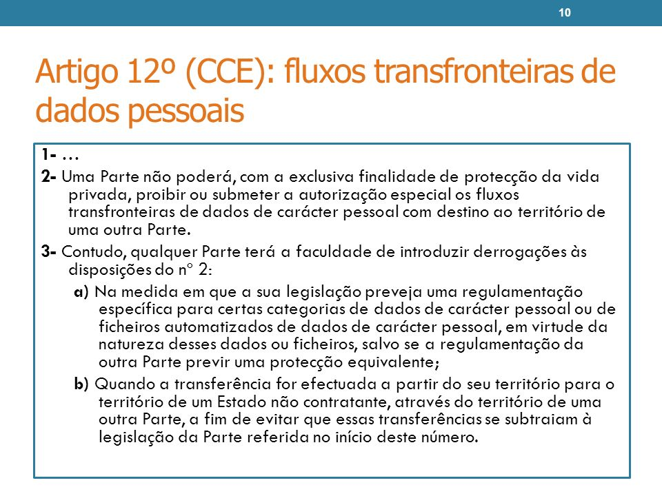 Artigo 12º (CCE): fluxos transfronteiras de dados pessoais