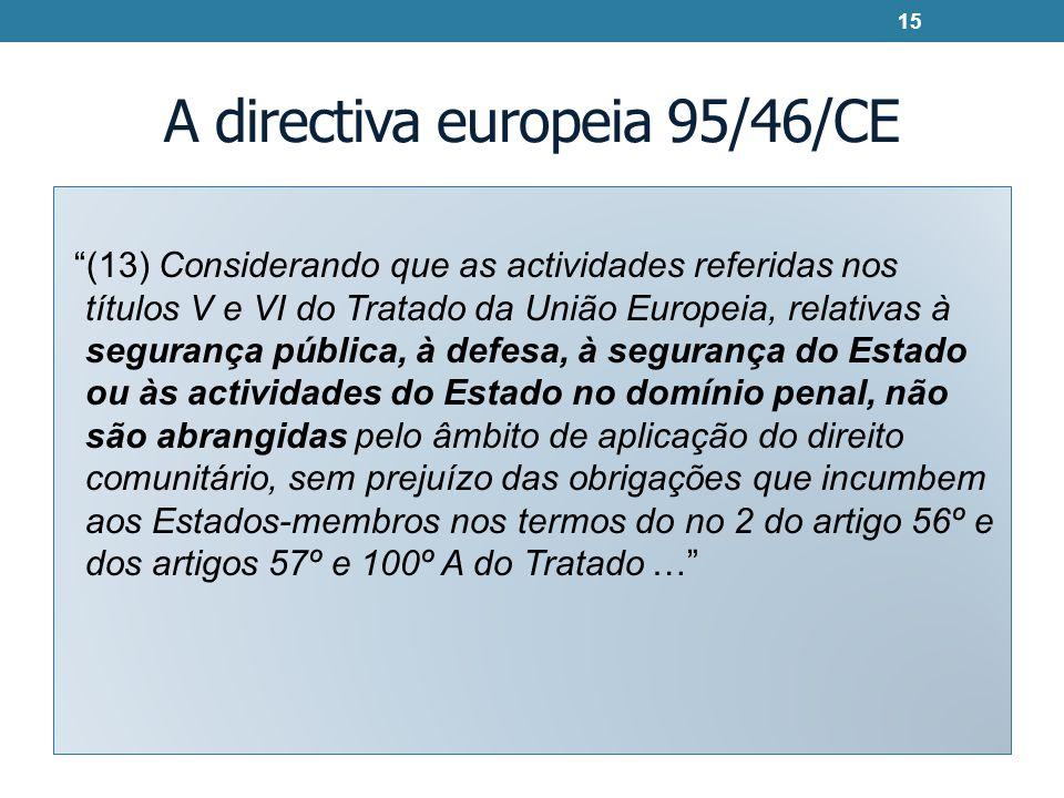 A directiva europeia 95/46/CE