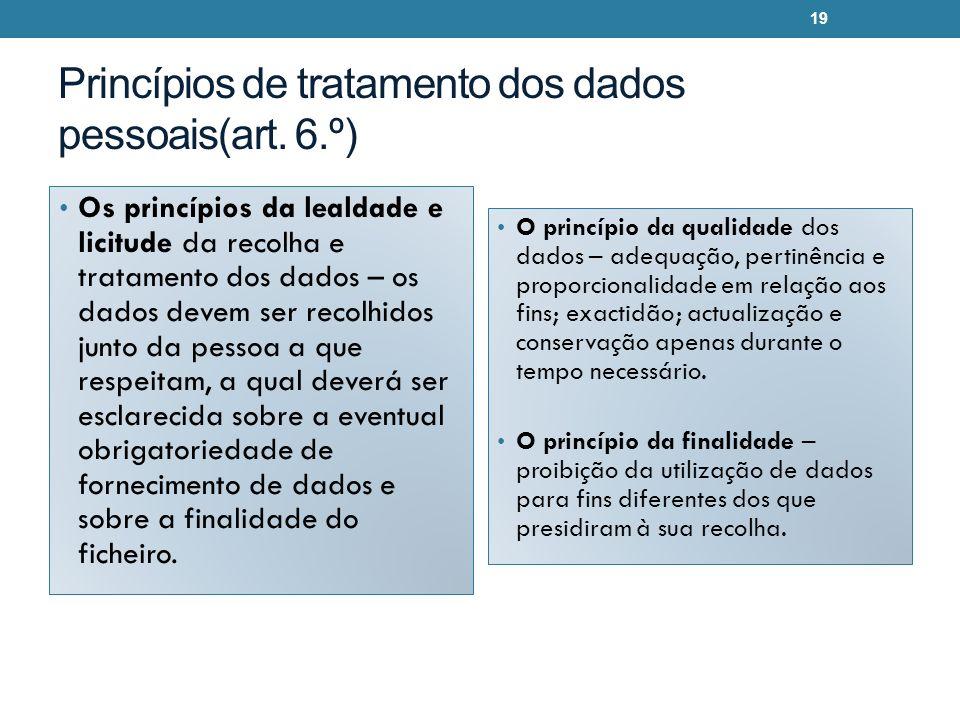 Princípios de tratamento dos dados pessoais(art. 6.º)