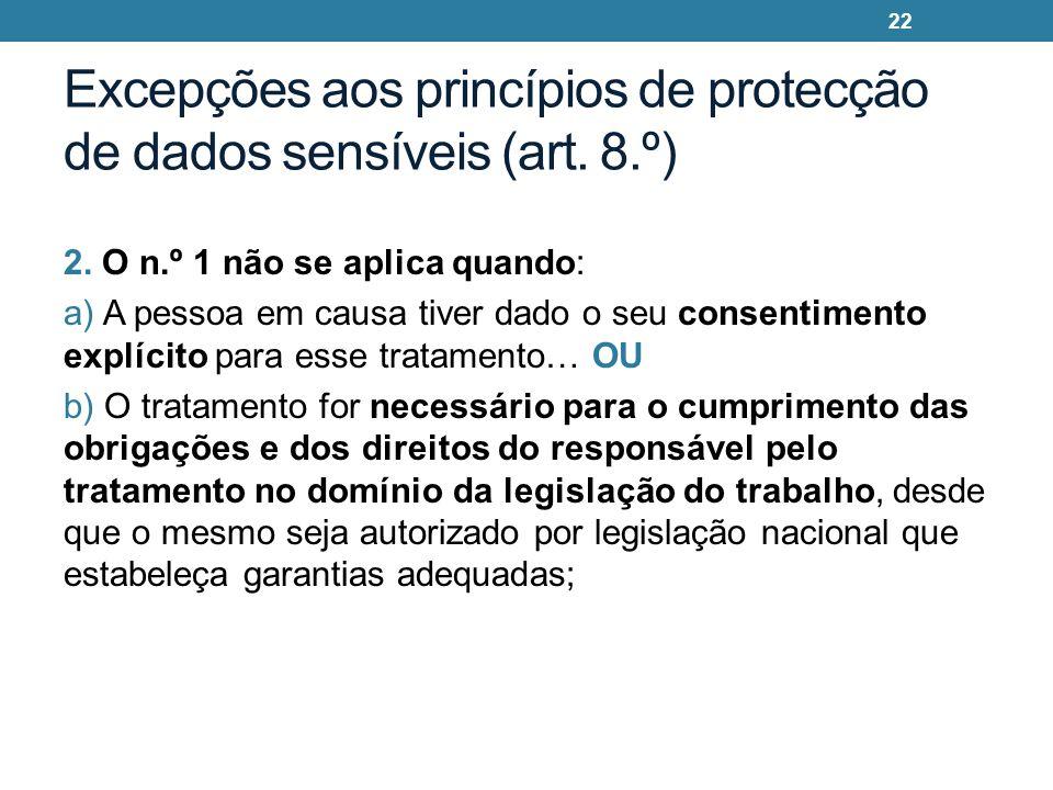 Excepções aos princípios de protecção de dados sensíveis (art. 8.º)