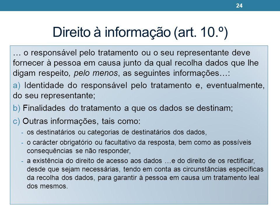 Direito à informação (art. 10.º)