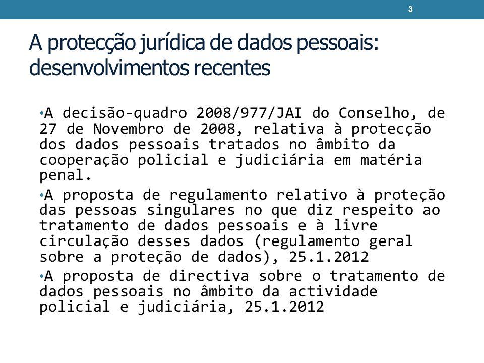 A protecção jurídica de dados pessoais: desenvolvimentos recentes