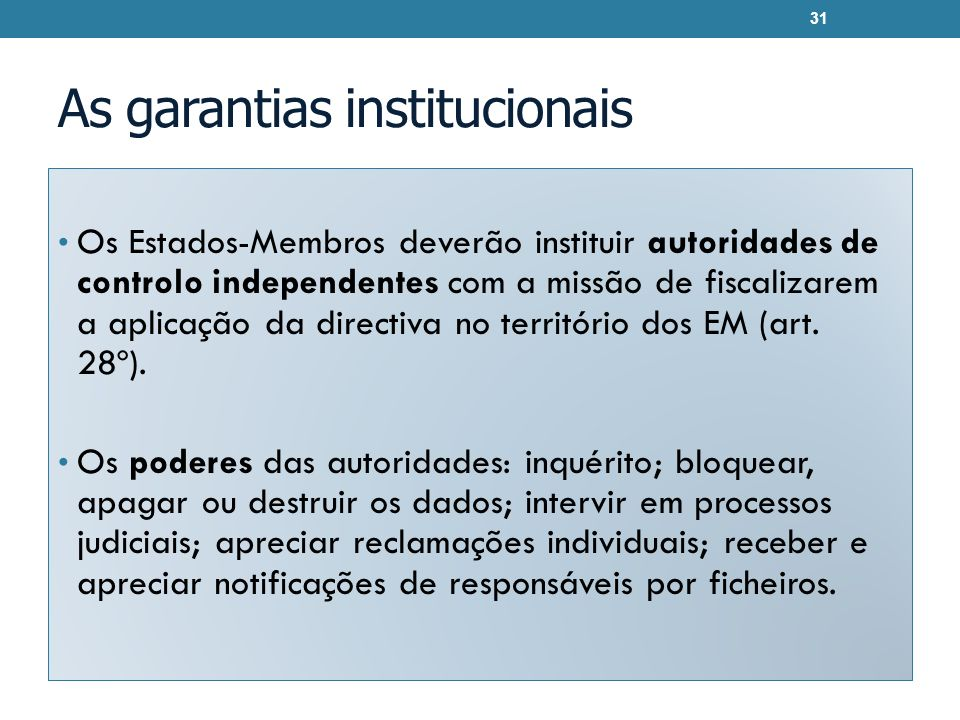 As garantias institucionais