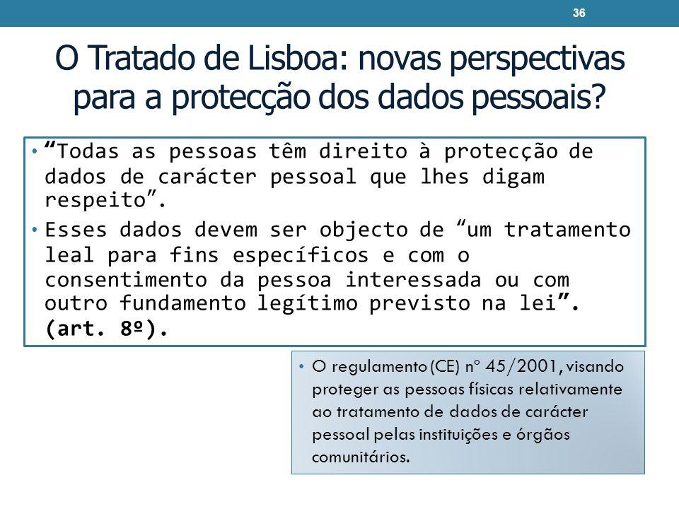 O Tratado de Lisboa: novas perspectivas para a protecção dos dados pessoais