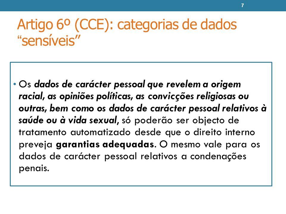 Artigo 6º (CCE): categorias de dados sensíveis